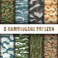 8 Collection de jeux de motifs de camouflage vecteur