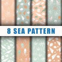 8 beaux motifs de fond de mer vecteur