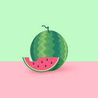 Melon d'eau et tranche Vector plate Illustration