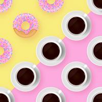 Café et beignets pop couleur fond vecteur