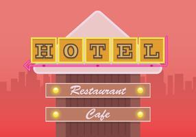 Signe de l'hôtel rétro. Signe de restaurant rétro. vecteur