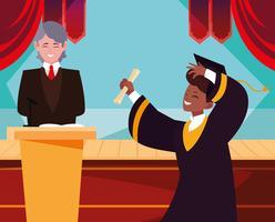 Diplômé recevant un diplôme vecteur