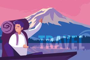 paysage avec lac et voyageur vecteur