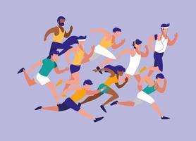 personnes athlète courant personnage de course d'avatar vecteur
