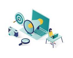 illustration isométrique de promotion des entreprises