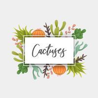 Cadre de décoration de cactus bio vecteur