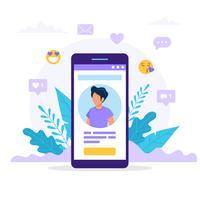 Profil de réseau social smartphone. vecteur