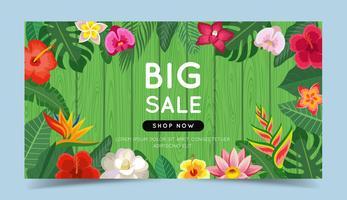 Bannière de grande vente avec des fleurs tropicales vecteur