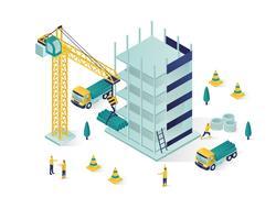 bâtiment en construction illustration isométrique vecteur