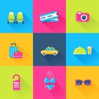 Ensemble de 9 icônes de voyages colorés vecteur