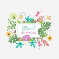 Cadre de décoration florale tropicale avec nom personnalisé vecteur