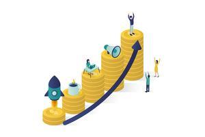 illustration vectorielle isométrique un groupe de personnages prépare un projet d'entreprise