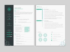 Modèle de CV de CV professionnel propre et minimal vecteur