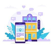 Réservez un hôtel avec smartphone. vecteur