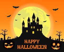 Château effrayant d'Halloween vecteur
