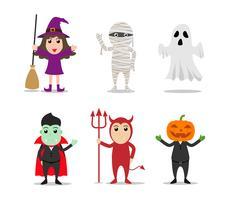 Ensemble de personnages de costumes de monstre d'Halloween