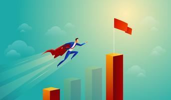 Diagramme à barres sautant super homme d'affaires
