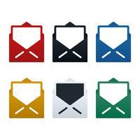 Cartes postales et icônes d'enveloppe ouverte