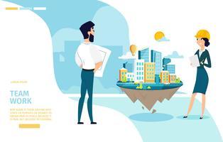 Bannière Web de travail d'équipe d'architectes vecteur