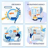 Ressources humaines, embauche, jeu de cartes de recrutement vecteur
