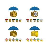 Icônes de parapluie avec des devises vecteur