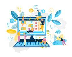 Achat de services en ligne sur Internet vecteur