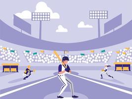 scène de stade de joueur de baseball vecteur