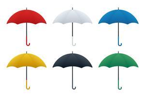 Variations de couleur des icônes de parapluie vecteur