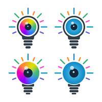 Icônes d'ampoule avec des globes oculaires vecteur