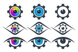 Icônes de vision en forme d'engrenage vecteur