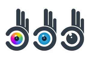 Globes oculaires dans des mains abstraites vecteur