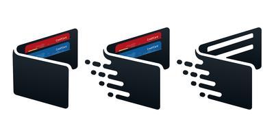Icônes de portefeuille avec cartes de crédit vecteur