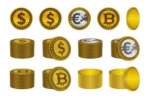 Icônes de la pièce d'or bitcoin dollar euro vecteur