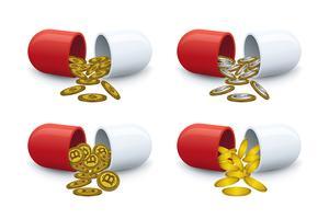 Les pièces sortent des pilules vecteur