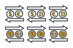 Échange d'icônes monétaires vecteur