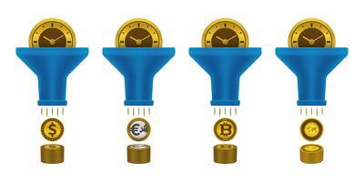 Icônes de monnaie, horloge et entonnoir vecteur