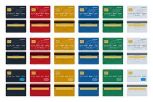 Grand jeu d'icônes de cartes de crédit vecteur