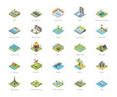 Bâtiments et autres icônes d'architecture vecteur