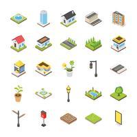 Paysage urbain isométrique Icon Set vecteur