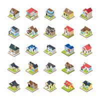 Maisons bâtiments icônes vecteur