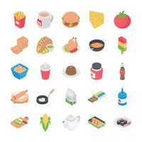 cuisines plats icônes vecteur