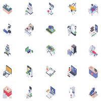 Icônes isométriques robotiques vecteur