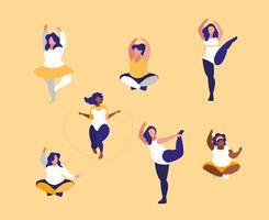 groupe de grandes femmes faisant de l'exercice vecteur