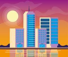 scène de jour de bâtiments de paysage urbain