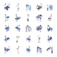 Pack d'icônes isométrique de laboratoire scientifique