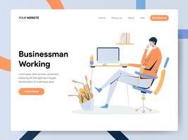 Modèle de page d'atterrissage d'homme d'affaires travaillant sur un bureau