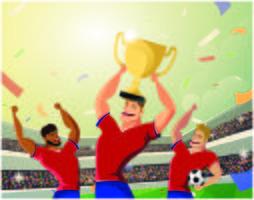 Équipe de football gagnante tenant la coupe du champion vecteur