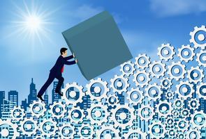 Hommes d'affaires poussent le béton sur la pente sur une échelle à engrenages vecteur