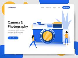 Modèle de page d'atterrissage de caméra et photographie Illustration Concept