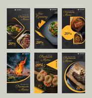 Pack de publications sur les médias sociaux culinaires vecteur